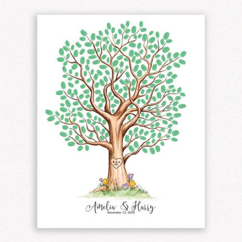 Wedding Fingerprint Tree with Fingerprint leaves