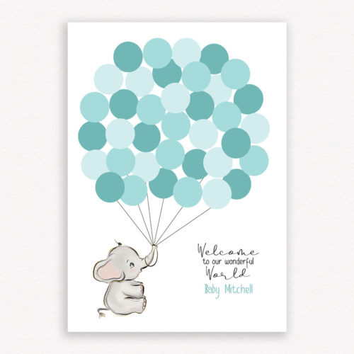 Welcome to our wonderful world baby shower guest book - Colour Cyan