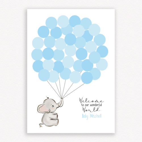 Welcome to our wonderful world baby shower guest book - Colour Blue