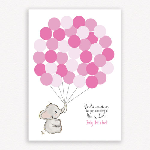 Welcome to our wonderful world baby shower guest book - Colour Pink